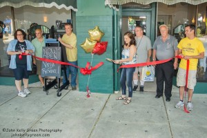 Ribbon cutting at the opening of Vinyl Revival on August 17th.