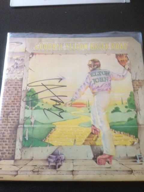 Elton John autographed a record purchased from us at his show on November 27th.